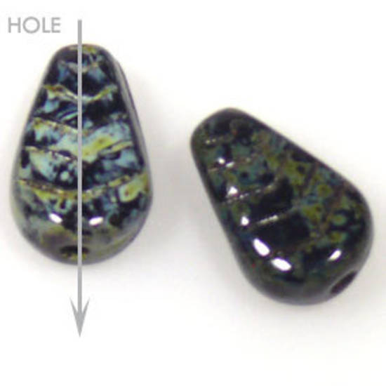 Glass Deco Leaf, 7mm x 12mm - China black