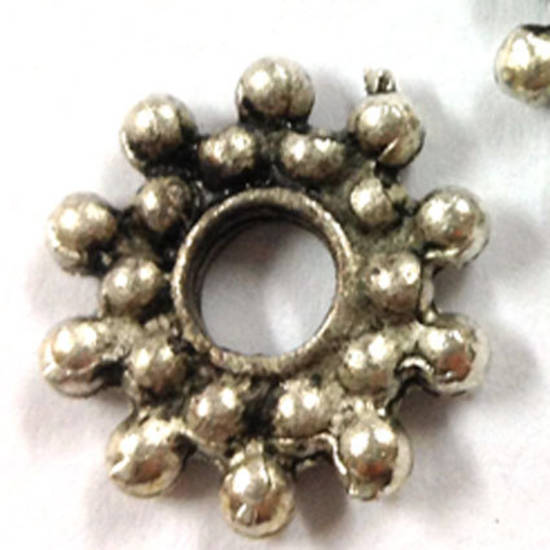 Metal Spacer: Large 24mm dotty - antique silver