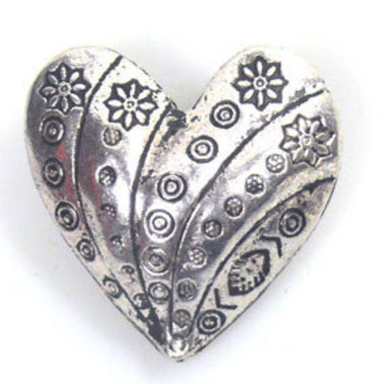 Metal Bead: 3D Large Heart - antique silver