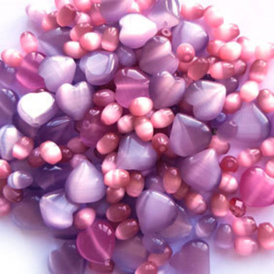 NEW! Fibre Optic MIX: Purple hearts & Pink Ovals
