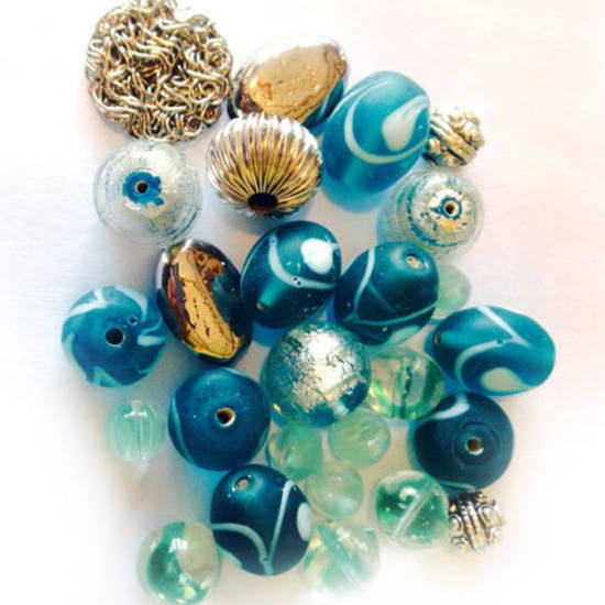 LAMPWORK MIX 3: Teal and Silver
