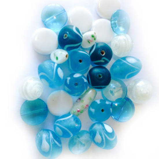 LAMPWORK MIX 4:  Aqua and White