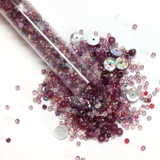 Seed Bead Mix, 25gm - mid purples
