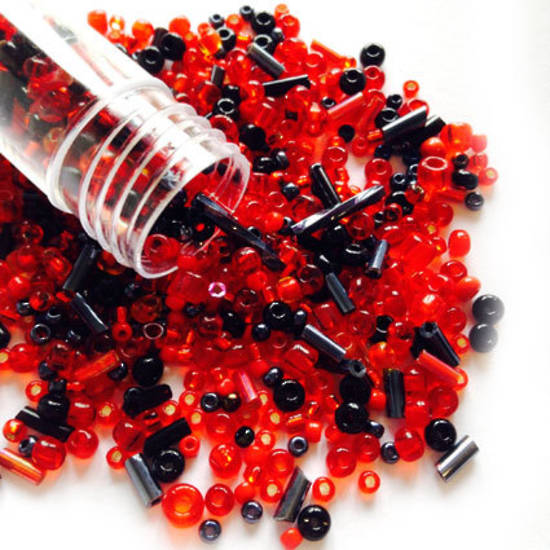 Seed Bead Mix, 15gm - LAVA FLOW