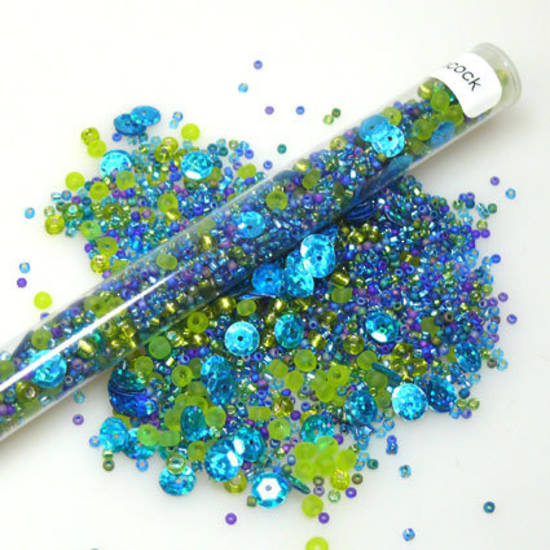 Seed Bead Mix, 25gm  -aqua and green
