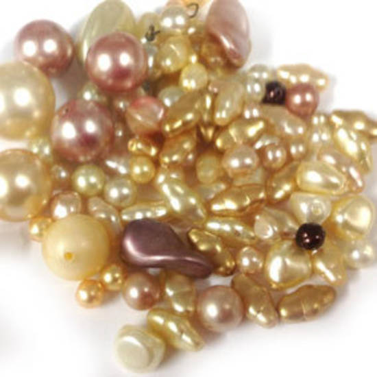NEW! Glass Pearl Mix: Golden Peach