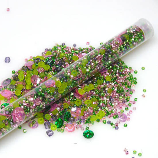 Chinese Seed Bead Mix - pink & green