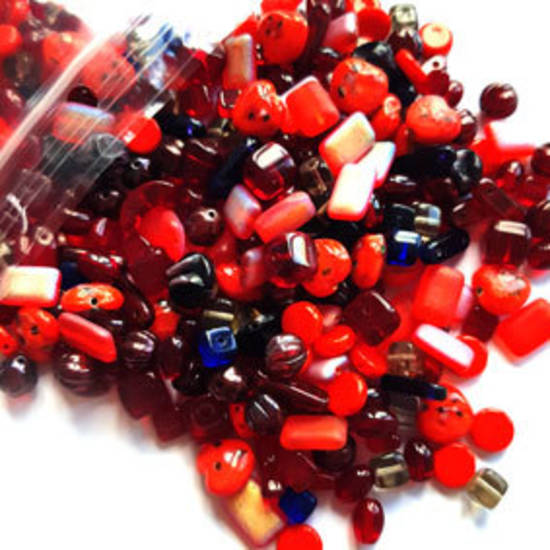 NEW! Pressed Glass Bead MIX: Red!