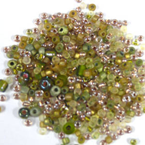 NEW! Seed Bead Mix, 15 grams - SOFT OLIVE GOLD