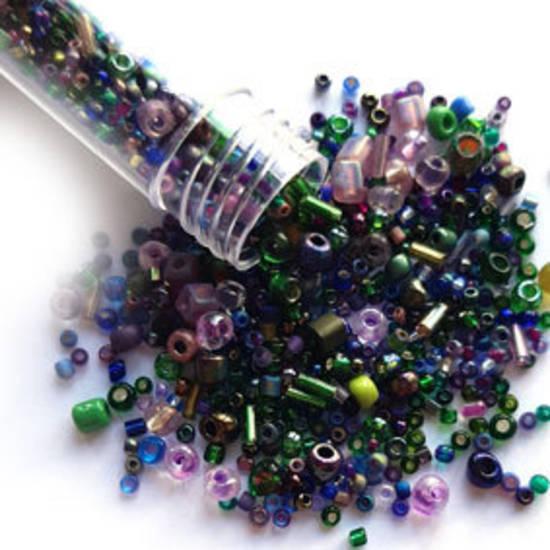 NEW! Seed Bead Mix, 15gm - DEEP PURPLE & GREEN