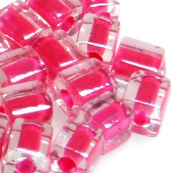 4mm Miyuki Square: 208 - Pink/Clear, colour lined
