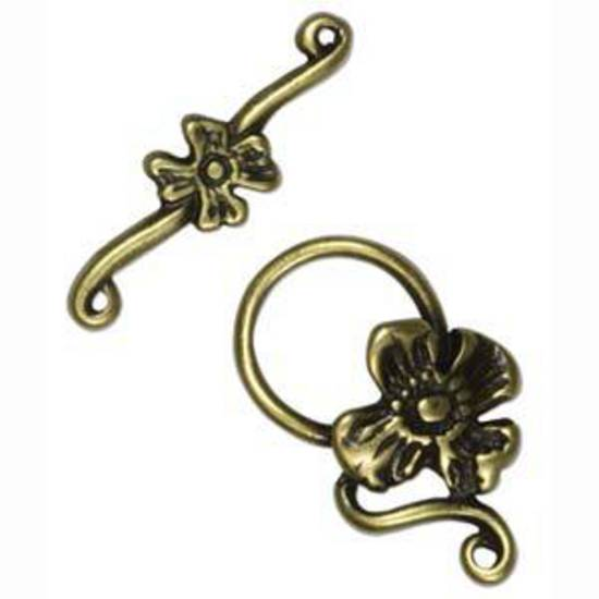 NEW! Toggle: Floral curl - antique brass