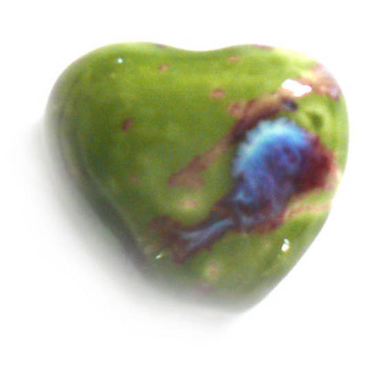 Porcelain Heart, 25mm, green/black/indigo
