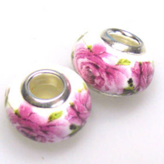 Pandora Style Porcelain Bead, Pink and Green Roses