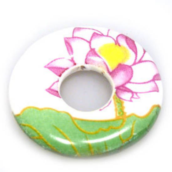 Porcelain Donut, grass green, pink and white