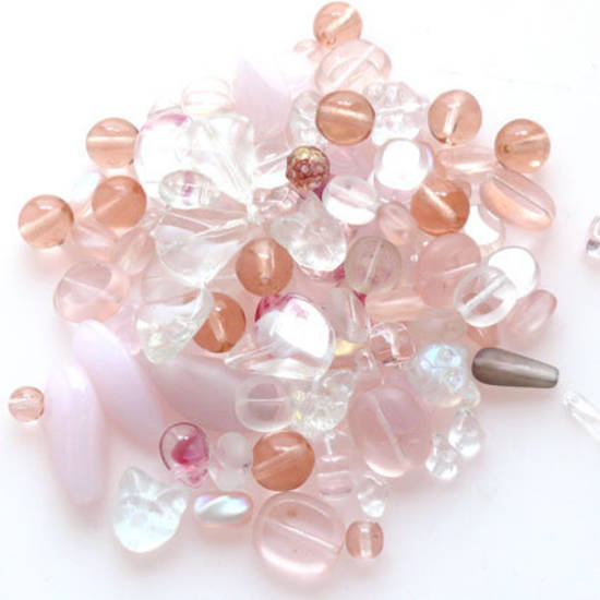 NEW! Pressed Bead Mix - Pink and Clear (larger beads)