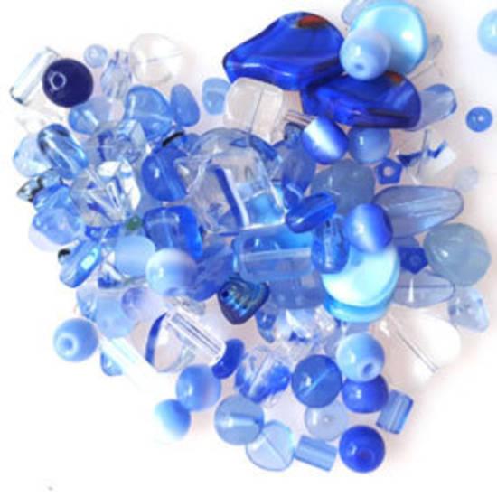Pressed Glass Bead MIX: Medium blues