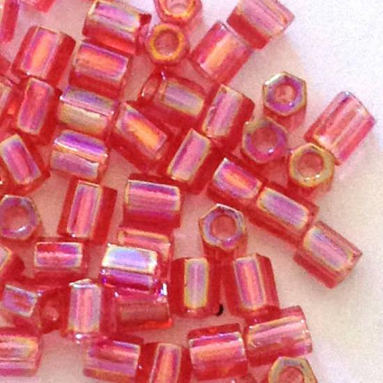 Miyuki size 8 hex: 256E - Pink Shimmer, transparent