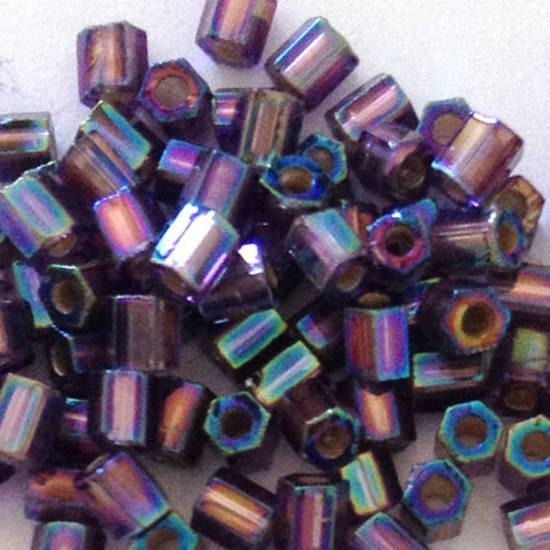 Miyuki size 8 hex: 639 - Purple Grey shimmer, silver lined
