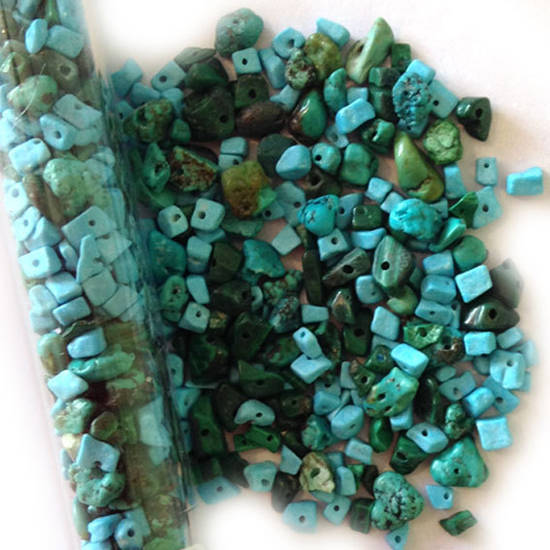 Semi-Precious Chip Mix - Turquoise and Green JUST 3 LEFT (tall tube)