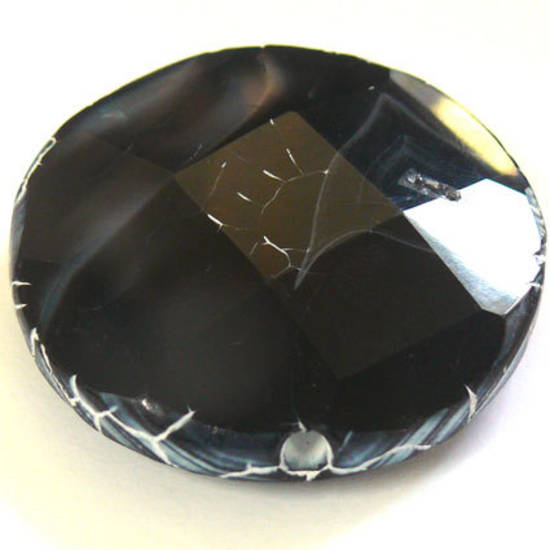 Large Black Fire Agate Faceted Disc, 44mm