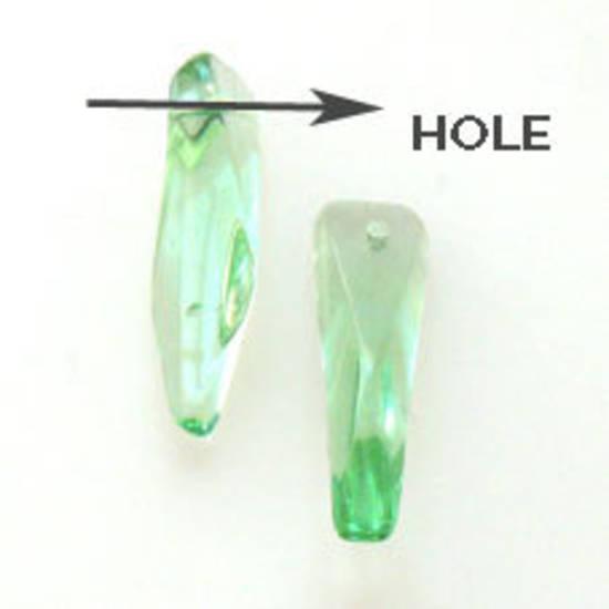 Curved Dagger Bead, 5mm x 18mm x 4mm: Light Green