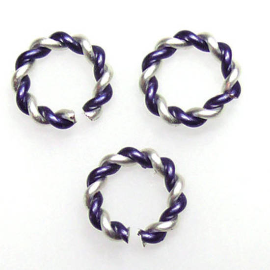 Twisted Jumpring, silver/dark blue