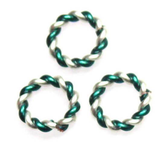 Twisted Jumpring, silver/green