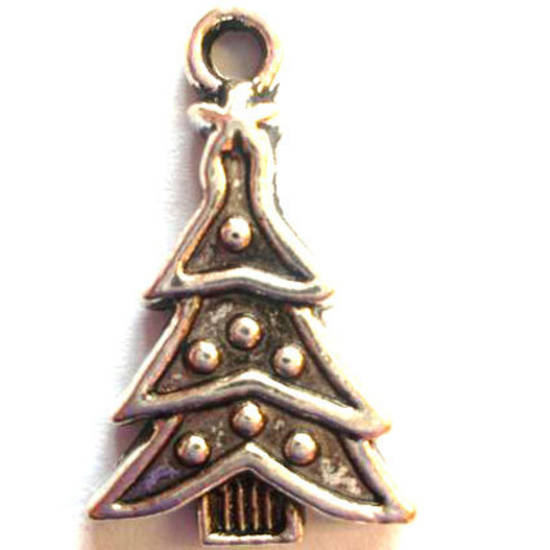 Metal Charm: Christmas tree - antique silver