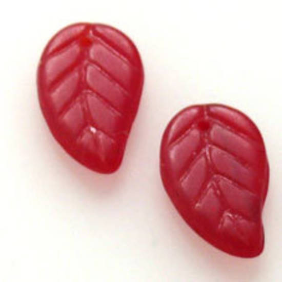Glass Flat Leaf, 9mm x 14mm - Red opaque