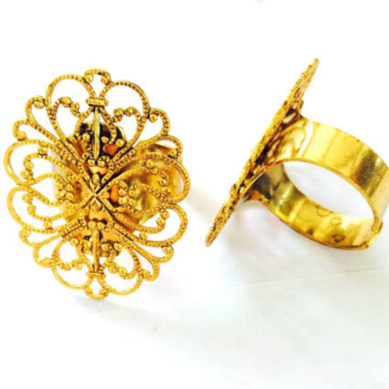 Filigree Ring Base - Gold