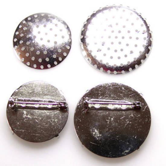 Round Brooch Back, sew on - antique silver
