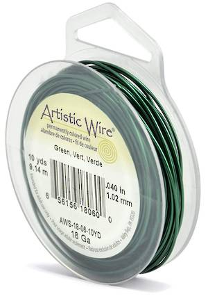 Artistic Wire: 18 gauge, Green