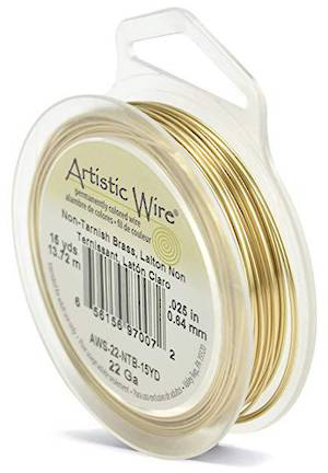 Artistic Wire: 22 gauge, Non Tarnish Brass