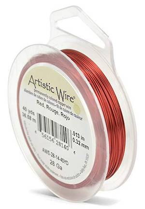 Artistic Wire: 28 gauge, Red