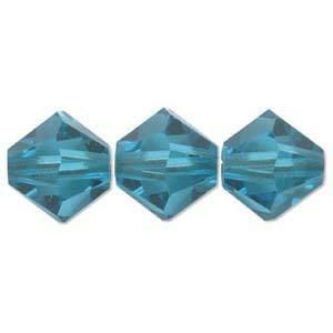 4mm Swarovski Crystal Bicone, Blue Zircon