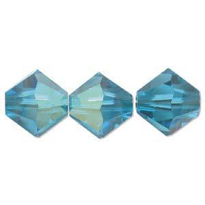 4mm Swarovski Crystal Bicone, Blue Zircon AB