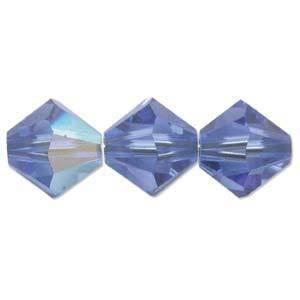 4mm Swarovski Crystal Bicone, Sapphire AB