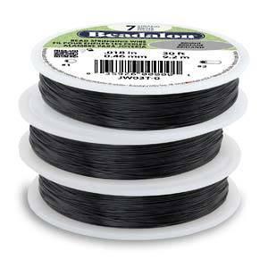 Beadalon flexible wire .012 BLACK 30FT - 7 strand