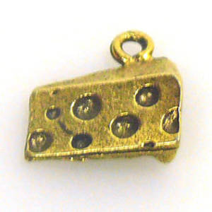 Metal Charm: Slice of Cheese - gold