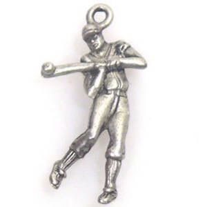 Metal Charm: Man batting ball - antique silver