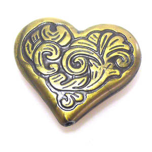 Acrylic Bead, leafy heart - antique brass