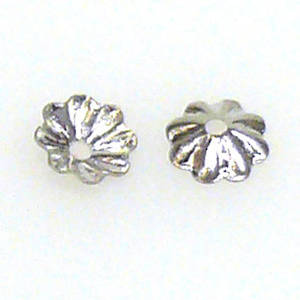 Antique Silver Bead Cap, 5mm, fluted