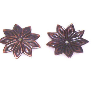 Antique Copper Bead Cap, 12mm, flat flower
