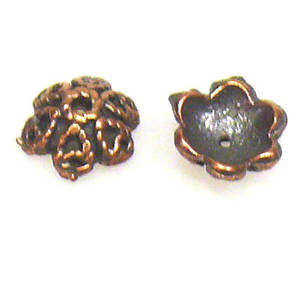 Antique Copper Bead Cap, cast, 10mm, decorative