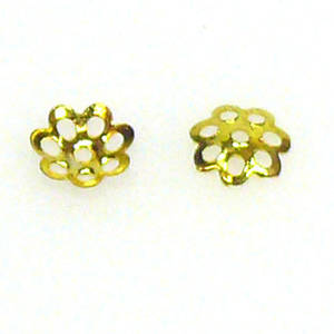 Gold Bead Cap, 6mm, flower pattern