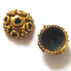 Antique Gold Bead Cap, 14mm rough cast, dot design