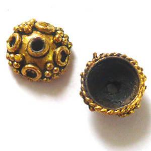 Antique Gold Bead Cap, 14mm rough cast, dot design