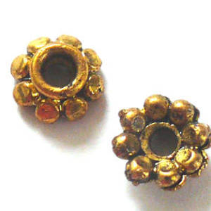 Antique Gold Bead Cap, 8mm rough cast, daisy