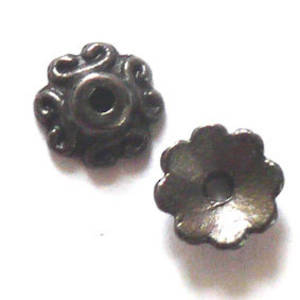 Gunmetal Bead Cap, cast. 8mm, swirl